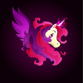 Dark fire magic unicorn