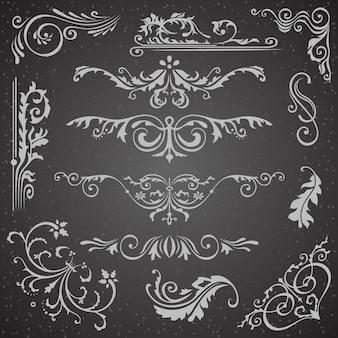 Dark flourish border corner y colección de elementos de marco
