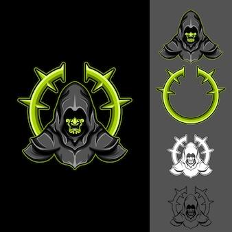 Dark witch: logo e-sport gaming