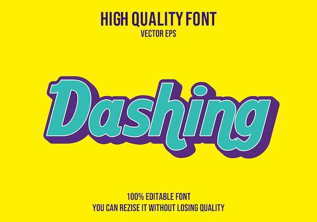 Dashing efecto de fuente de texto de vector