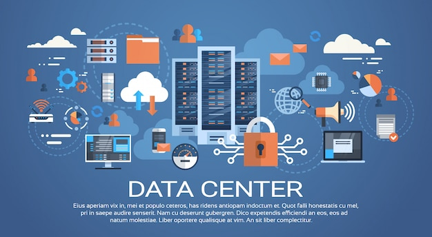 Data center cloud conexión de computadora servidor servidor base de datos sincronizar tecnología