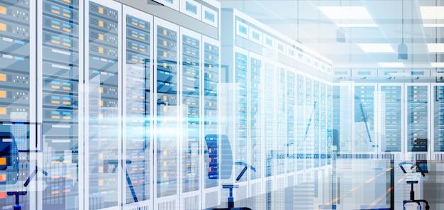 Data center room hosting servidor información de la base de datos de la computadora sincronizar tecnología