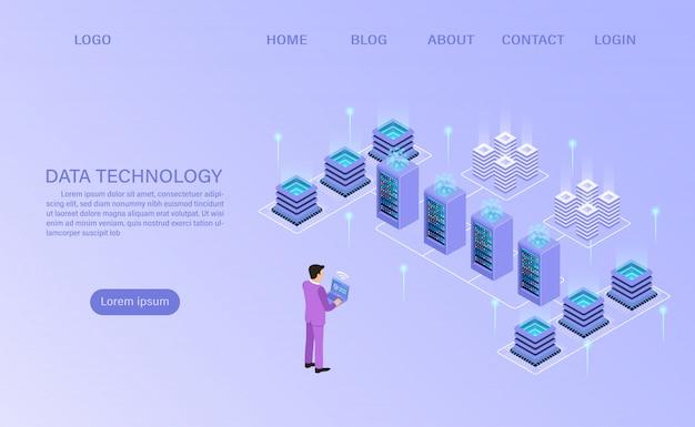 Datacenter server room tecnología de almacenamiento en la nube y procesamiento de big data