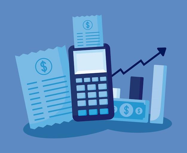 Datáfono con set iconos economía finanzas
