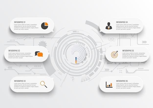 Datos comerciales elementos abstractos del gráfico con 6 pasos.
