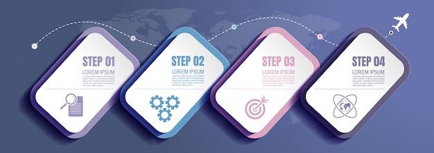 Datos comerciales infográficos con 3 pasos