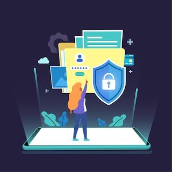 Datos digitales de protección de seguridad abstracta de clave privada en dispositivos móviles, concepto de seguridad de datos, plano aislado