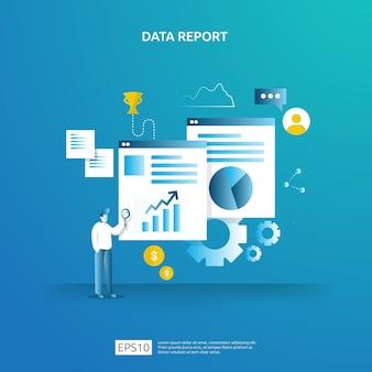 Datos gráficos digitales para análisis seo y estratégicos con carácter. información estadística, documento de informe de auditoría financiera, investigación de mercados para el concepto de gestión empresarial.