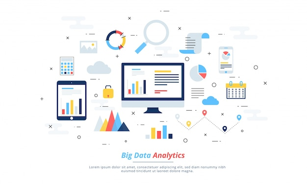 Datos grandes, alogorithms de la máquina, concepto del concepto del analytics y concepto de la seguridad. fin-tecnología (tecnología financiera) de fondo. colorido estilo de ilustración plana.