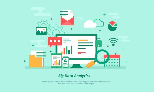 Datos grandes, alogorithms de la máquina, concepto del concepto del analytics y concepto de la seguridad. fin-tecnología (tecnología financiera) de fondo. estilo de ilustración plana.