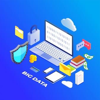 Datos grandes, concepto de seguridad de concepto de alogorithms de máquina y concepto de seguridad. fin-tecnología (tecnología financiera) de fondo.
