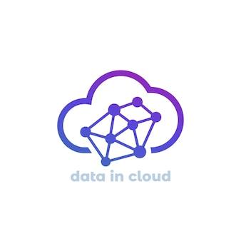 Datos en icono de vector de nube