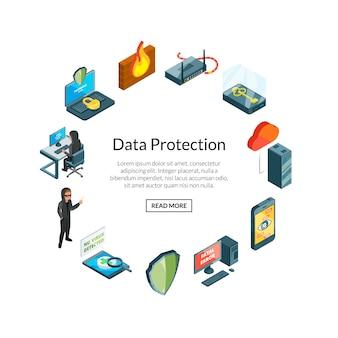 Datos isométricos e iconos de seguridad informática