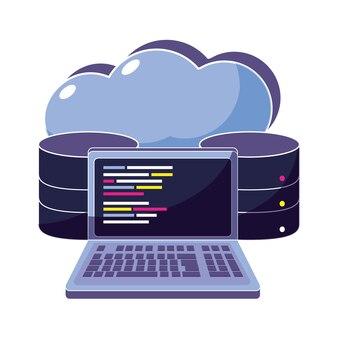 Datos de la nube y código del sistema de la computadora