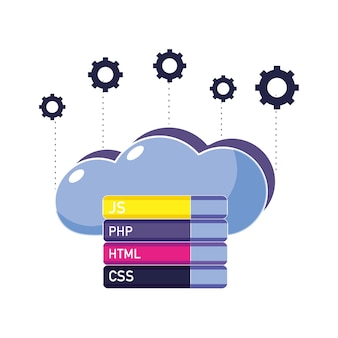 Datos en la nube con engranajes y código de programación
