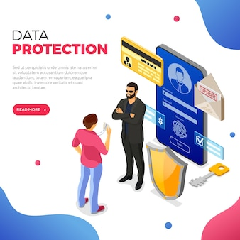 Datos personales cyber internet y banner de protección de seguridad teléfono con protección de datos confidenciales escudo guardia de seguridad insignia de héroe formulario de inicio de sesión antivirus pirateo isométrico aislado ilustración vectorial