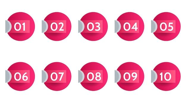 Datos de puntos de viñeta, marcadores de información. conjunto de flechas de icono. banderas numéricas del 1 al 12 diseño plano aislado. ilustración infográfica.