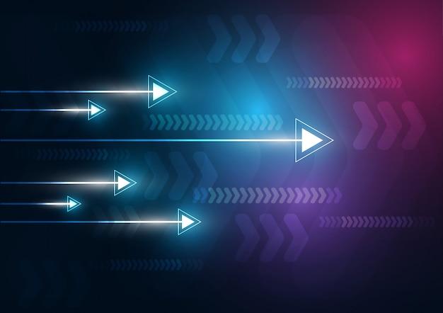 Los datos de la tecnología y la velocidad de la flecha de neón cargan el resumen con el fondo colorido