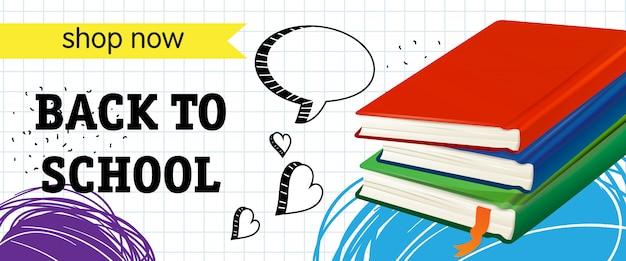 De vuelta a la escuela, compre ahora letras con libros