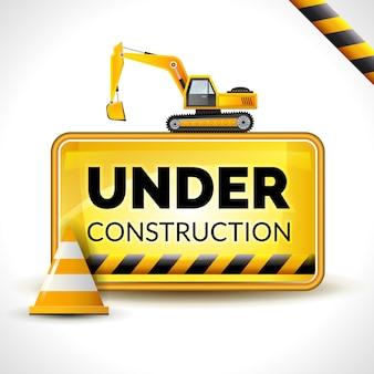 Debajo del cartel de construcción