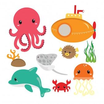 Debajo del mar animal set