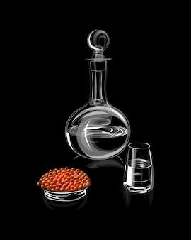 Decantador o garrafa con vidrio y caviar rojo sobre fondo negro. ilustración