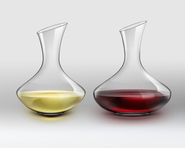 Decantador de vidrio clásico de vector con vino tinto y decantador con vino blanco, sobre fondo gris degradado