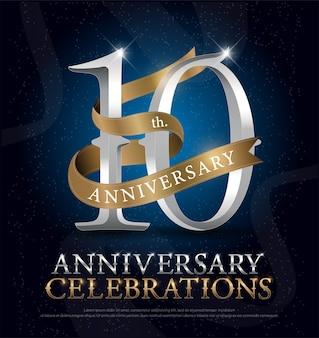 Décimo aniversario celebración de plata y oro
