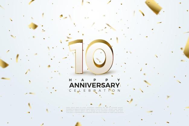 Décimo aniversario con números 3d en relieve en oro