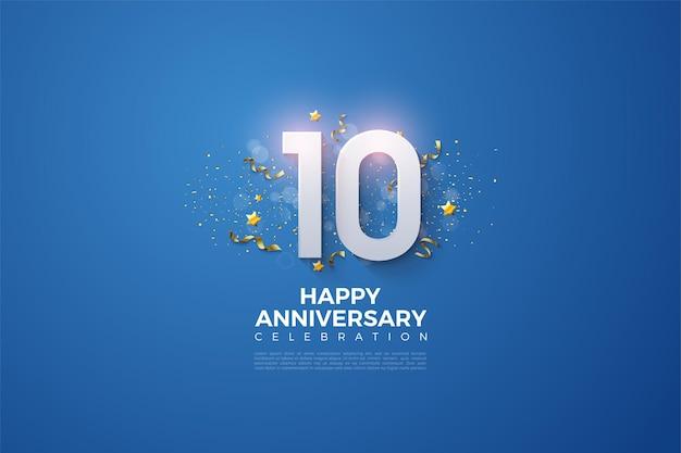 Décimo aniversario con números blancos sobre fondo azul.