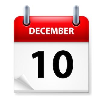Décimo en el icono de calendario de diciembre sobre fondo blanco