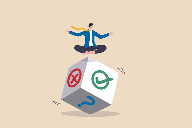 Decisión comercial, oportunidad e incertidumbre para ganar negocios, riesgo, aleatoriedad o suerte, concepto de consejo o sugerencia, el empresario medita en tirar los dados piensa en el resultado del signo correcto, incorrecto o de interrogación