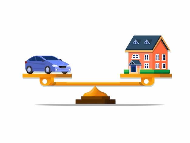 Decisión de comparación de escala entre comprar un automóvil o una ilustración de dibujos animados de casa