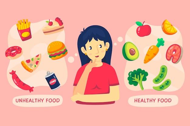 Decisión difícil entre comida sana y comida rápida