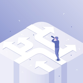 Decisión del empresario elección de dirección de negocios, decisiones de éxito en la carrera y elección de formas ilustración del concepto isométrico