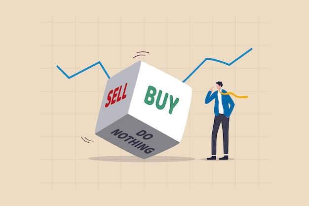 Decisión de inversión en concepto de mercado de valores volátil