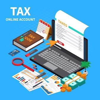 Declaración de impuestos sobre la composición isométrica web con pantalla de computadora portátil, código de cuenta en línea, especificaciones, manual, pago