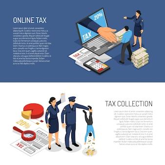 Declaración de impuestos sobre la renta en línea y personajes de los inspectores que cobran efectivo. ilustración de vector de banners isométricos horizontales