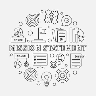 Declaración de misión ronda ilustración del icono de contorno