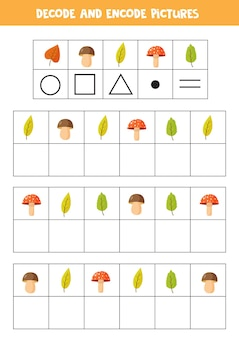 Decodifica y codifica imágenes. escribe los símbolos debajo de las lindas hojas de otoño.