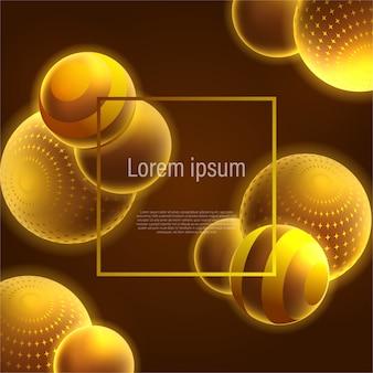 Decoración abstracta de bola de oro brillante 3d para plantilla de fondo