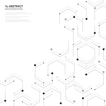 Decoración abstracta negra del diseño de la cubierta del modelo de la nanotecnología hexagonal.