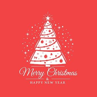 Decoración del árbol de navidad aislado sobre fondo rojo.
