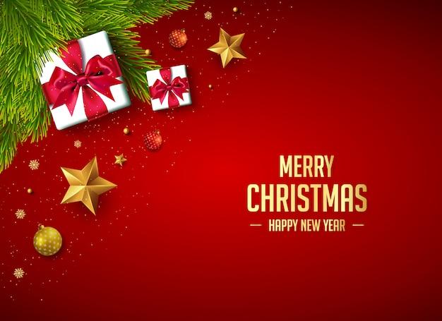 Decoración de banner de feliz navidad con regalos y elementos de navidad.