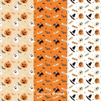 Decoración blanca y naranja para la colección plana de patrones de halloween