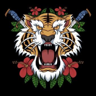 Decoración de cabeza de tigre