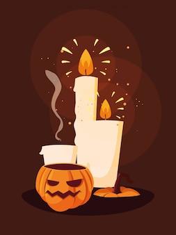 Decoración de calabaza de halloween con velas