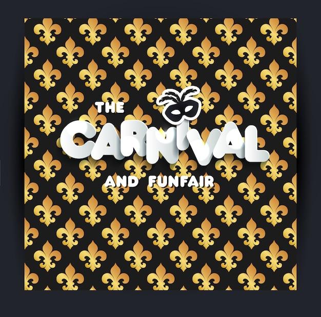 Decoración del carnaval. patrón sin costuras en negro