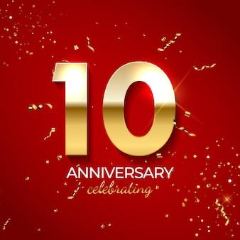 Decoración de celebración de aniversario. número de oro 10 con confeti, brillos y cintas de serpentina sobre fondo rojo.