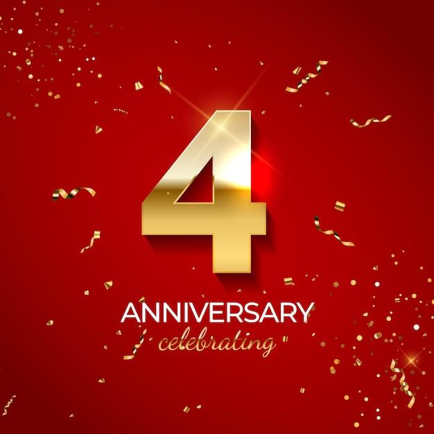 Decoración de celebración de aniversario, número de oro 4 con confeti, brillos y cintas de serpentina sobre fondo rojo.